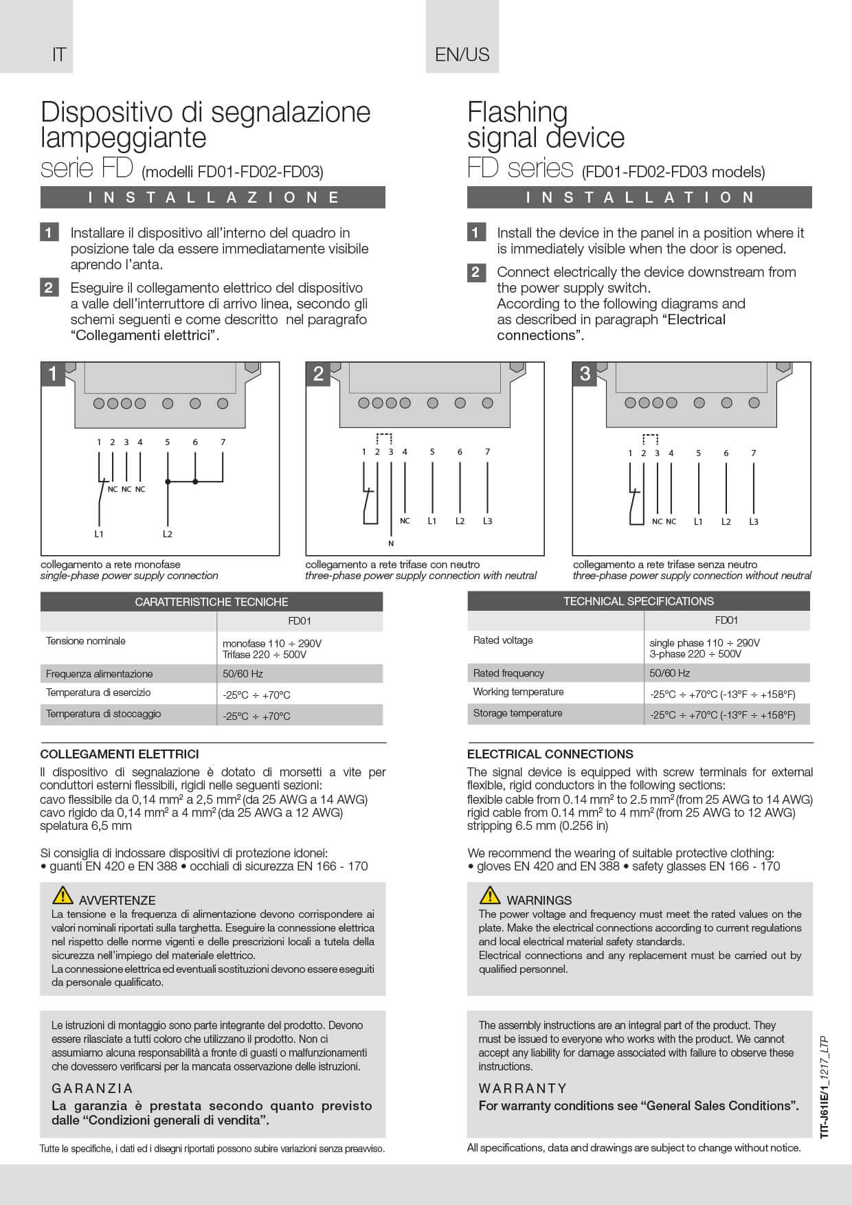 Disp. segnalazione lampeggiante istruzioni