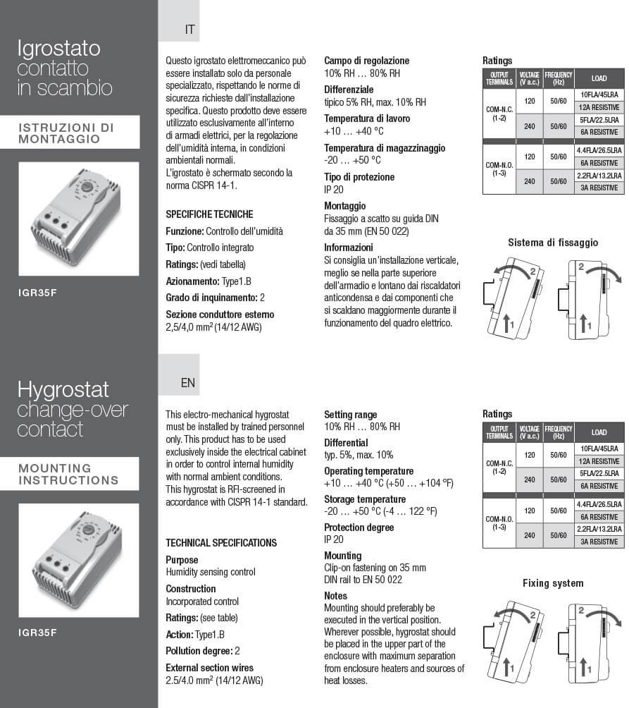 Igrostato IGR istruzioni