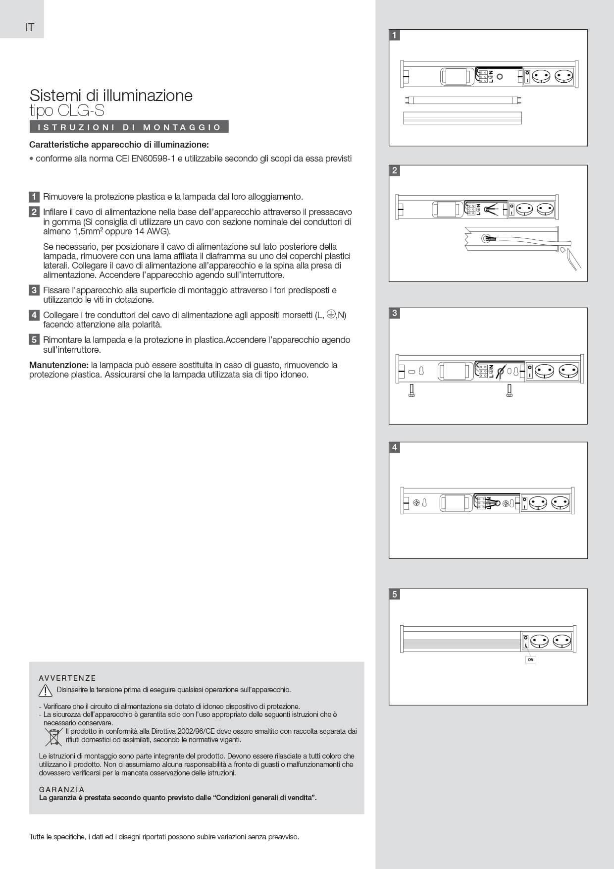 Lampade fluorescenti CLG-S istruzioni