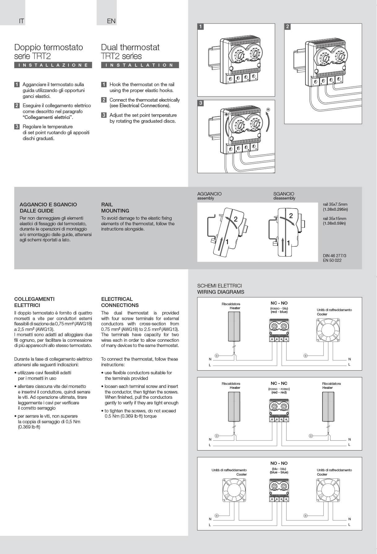 Termostati TRT2 istruzioni