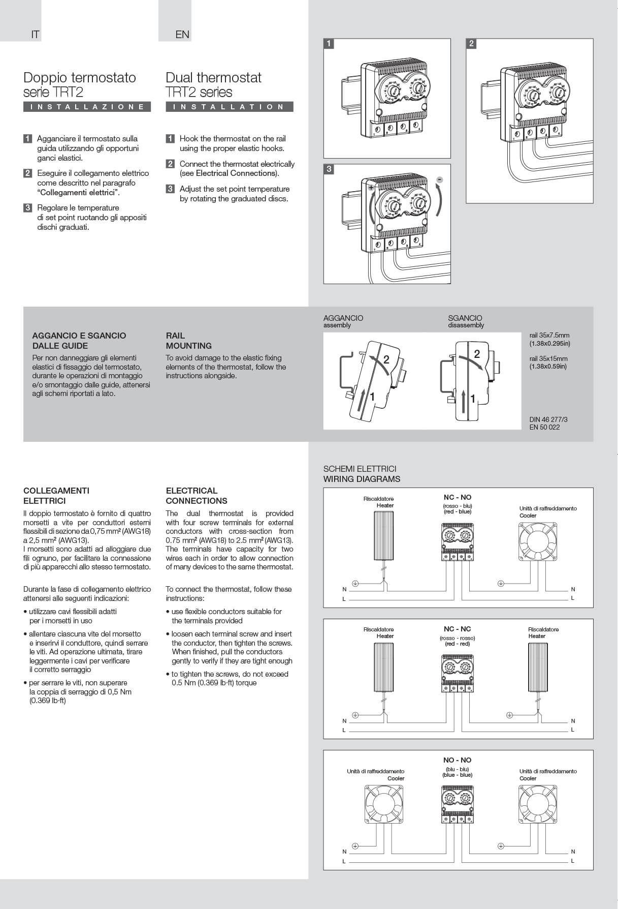 Thermostats TRT2 instructions