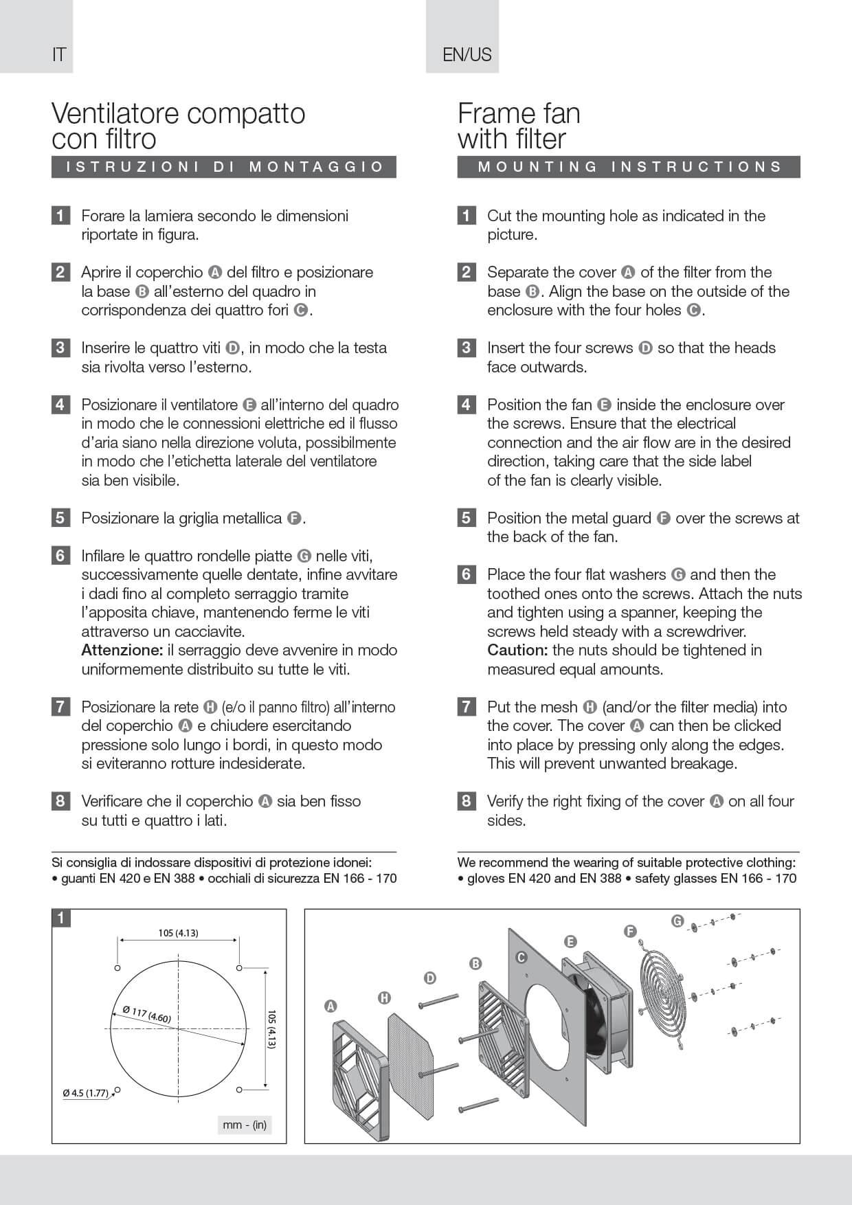Ventilatore con filtro (kit) istruzioni