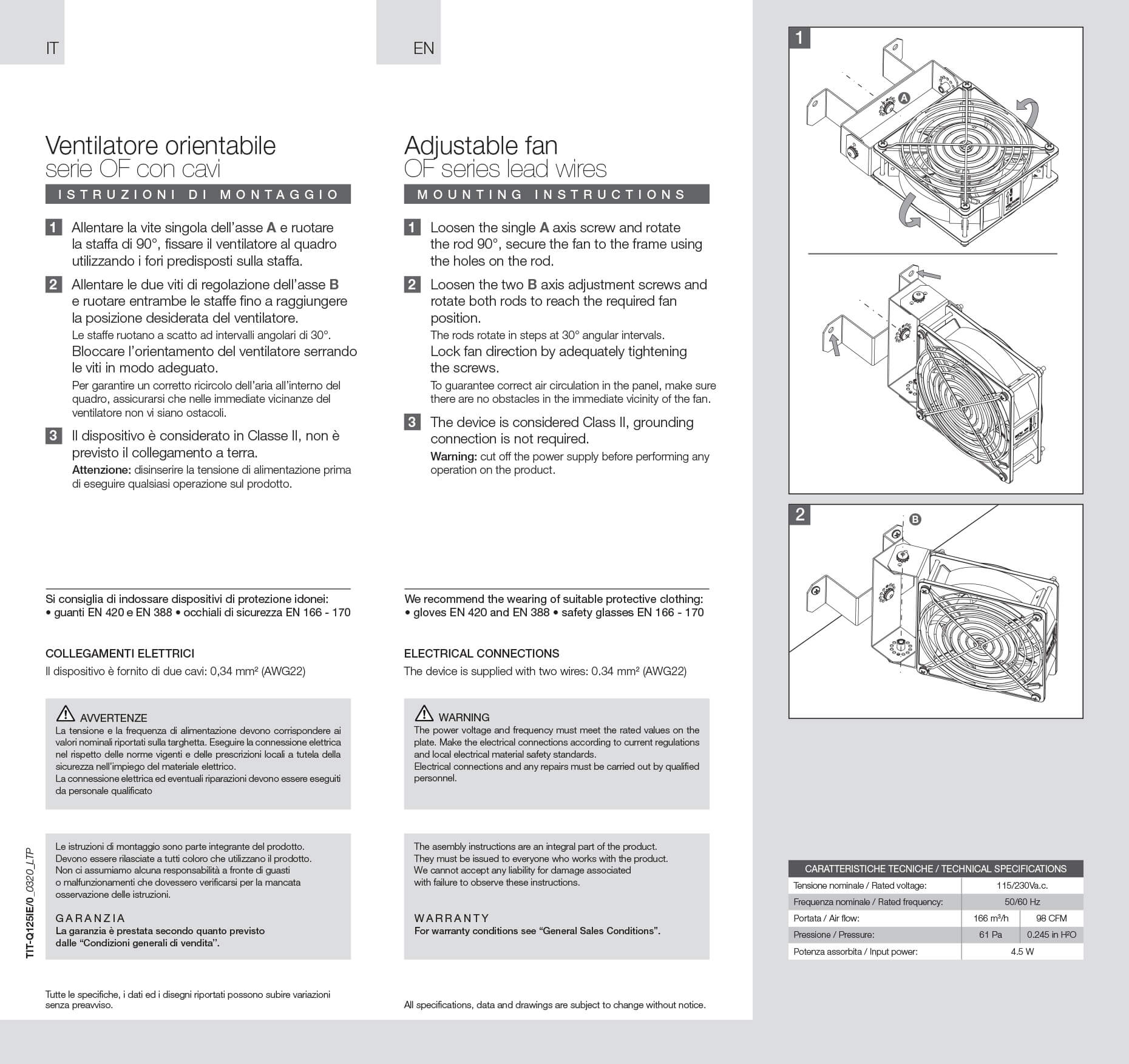 Ventilatore orientabile istruzioni