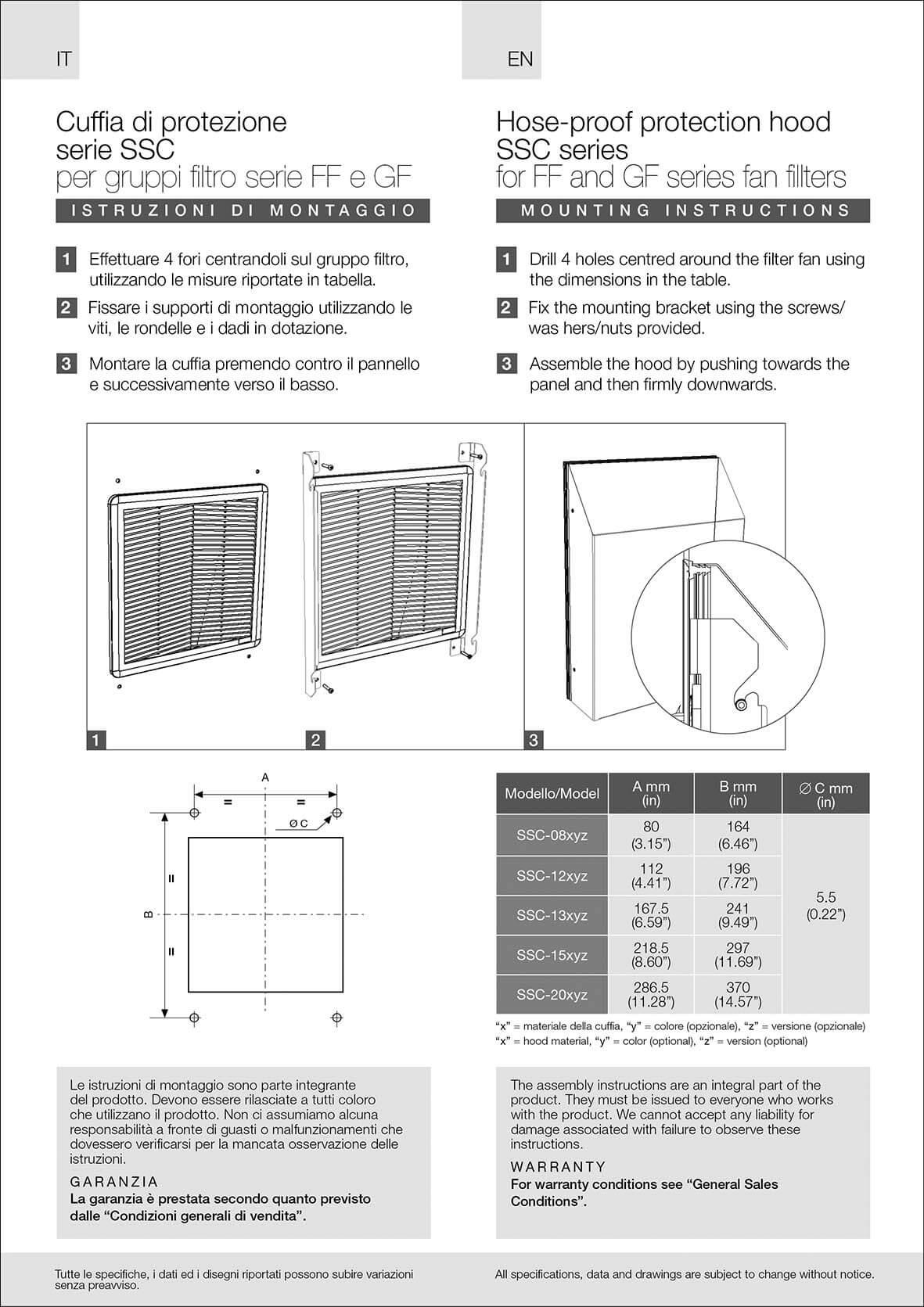 Filter fans hose proof hood SSC-A/EU instructions