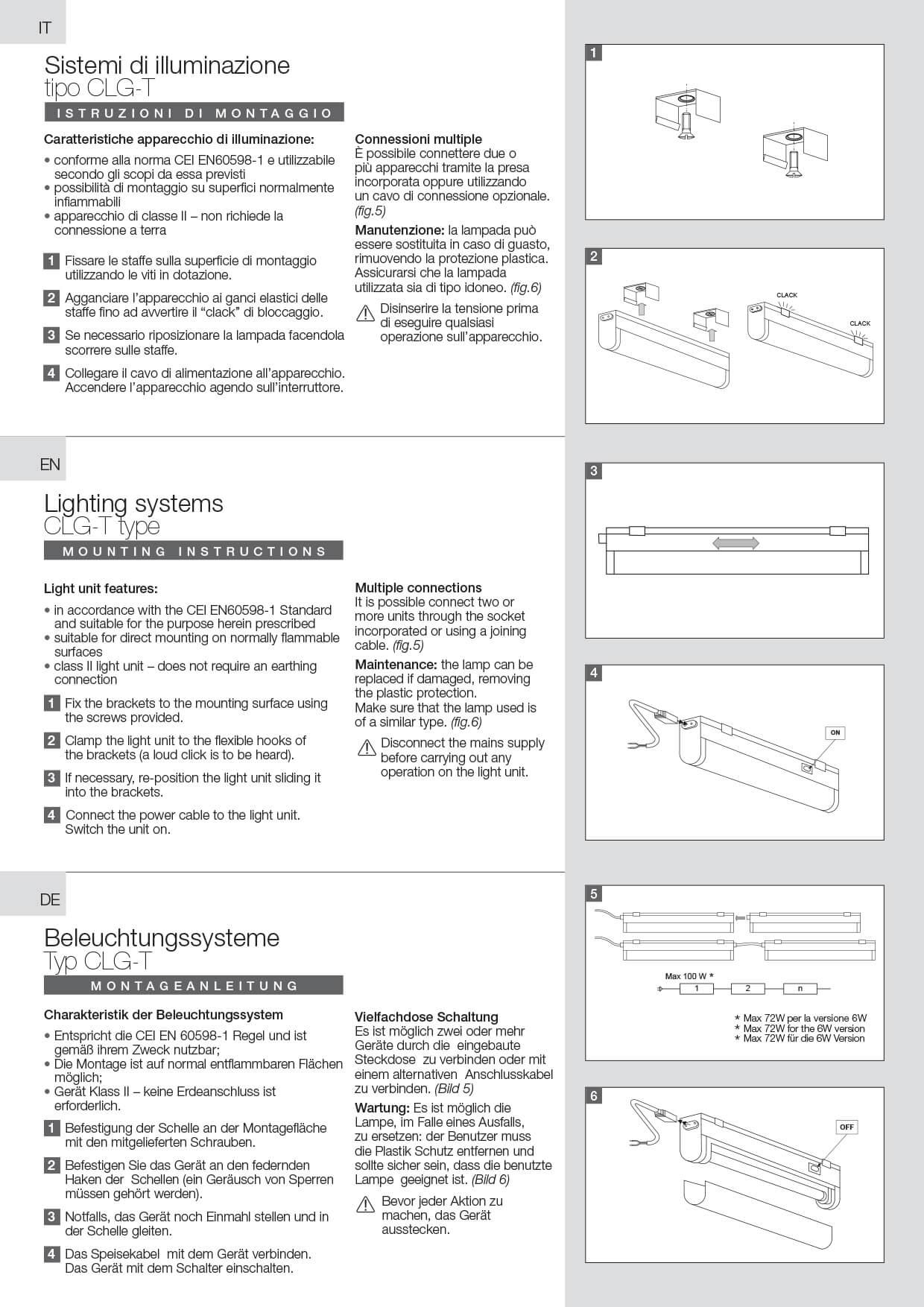 Fluorescent lights CLG-T instructions