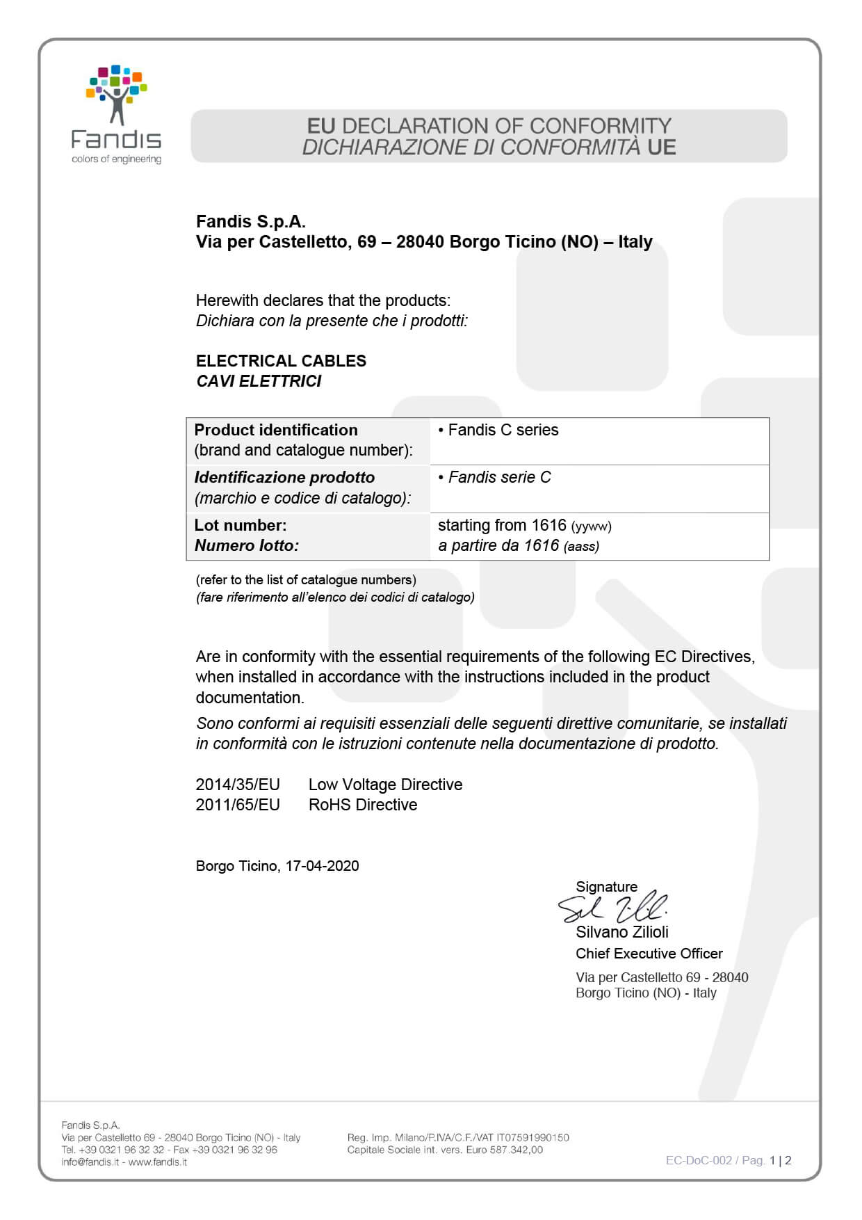 EC DoC 002 cavi elettrici