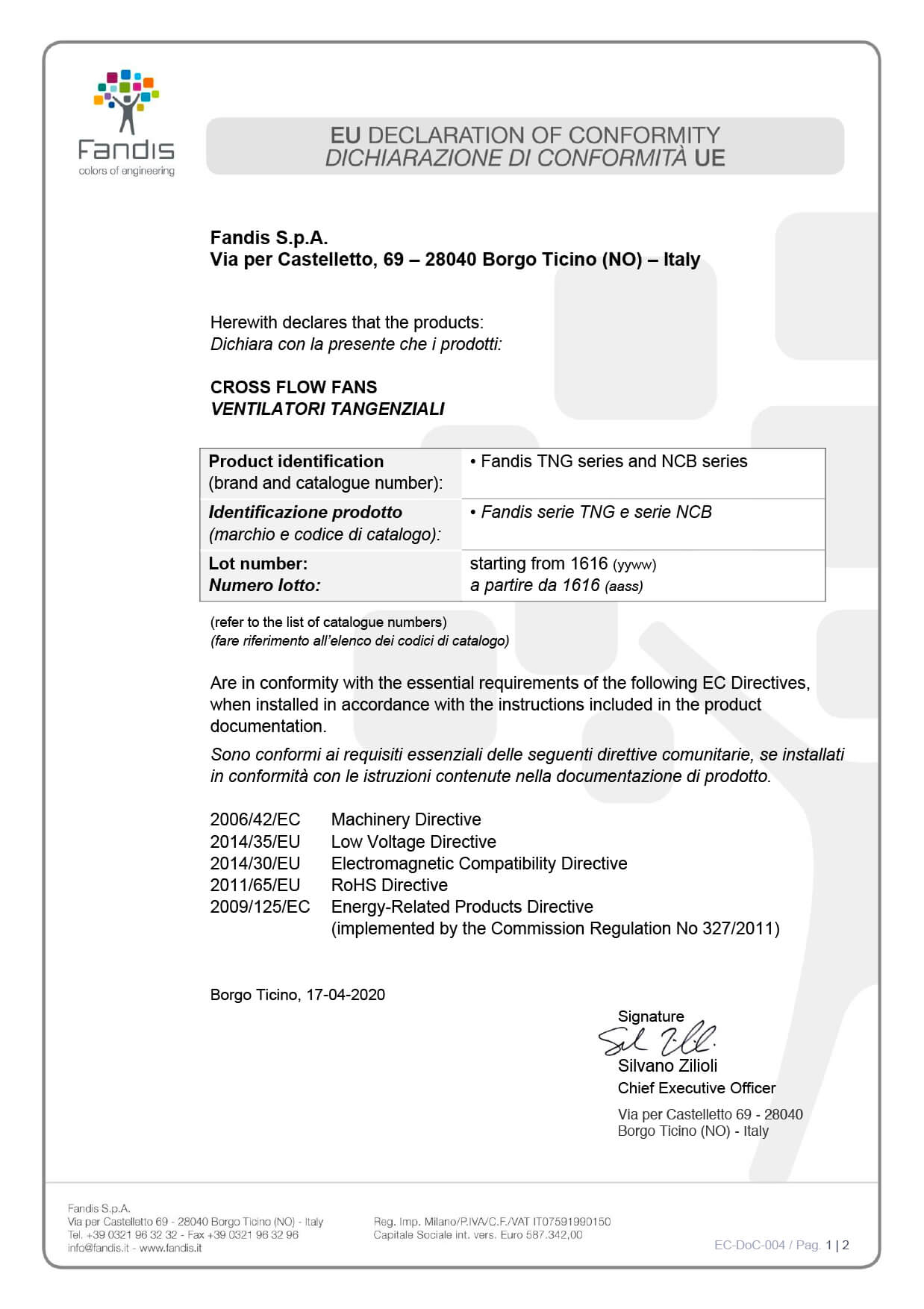 EC DoC 004 ventilatori tangenziali