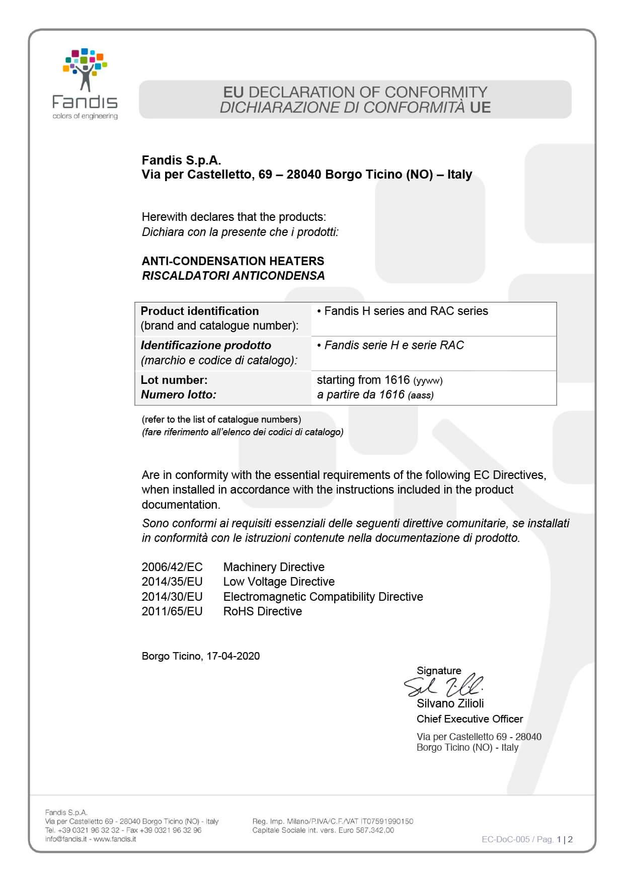 EC DoC 005 riscaldatori